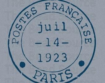 Paris Stencil, French Postmark Stencil, Paris France Postage, French Stamp, reusable painting stencil, France Stamp, Mylar Stencil, pochoir