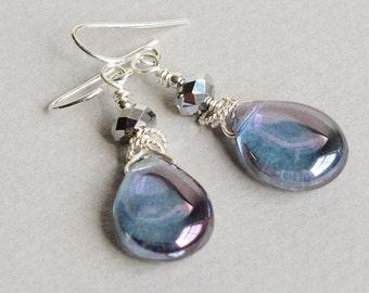 Violet Drop Earrings - Violet Earrings - Violet and Silver Earrings - Purple Drop Earrings - Sterling Silver