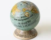 Vintage Tin Globe Bank, The Golden Rule