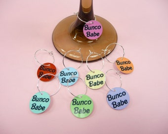 BUNCO BABE CHARMS Wine Glass Set of 8 Ladies Night Out Game Night Party Favors Makes A Great Gift Stemware Charm