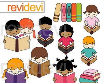 Kids reading clipart - boys and girls read book - library, read, books clipart - digital images - instant dowbload