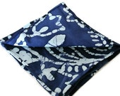 Dark and Powder Blue Print Men's Cotton Pocket Square , Hand Rolled Edge Pocket Square , Groomsmen Tropical Wedding , Handkerchief