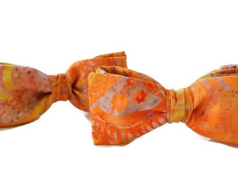 Bow Tie for Women , Orange and Yellow Hair Accessories , Womans Gift , Womens Cotton Bow , Hair Accessories , Hair Clip/ Comb