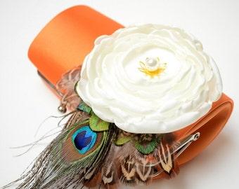 Bright Orange & Ivory Bridal Clutch - Bridesmaid Clutch - Bouquet Clutch - Bohemian Woodland Boho Feather Clutch