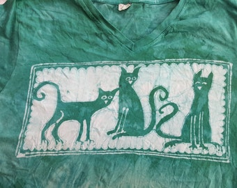L women's Three Hep Cats batik, v neck