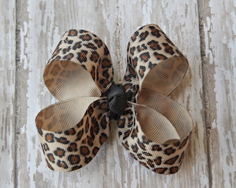 Leopard Toddler Hair Bow 3 Inch Alligator Clip Baby Hairbow Animal Print Hair Bow Leopard Baby Bow Animal Print Baby Bow