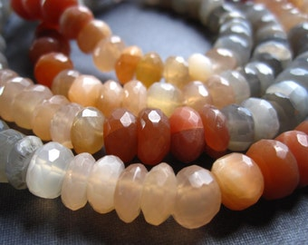 Multi Moonstone Faceted Rondelles - 6 1/2 inches - 7-8mm X 4mm