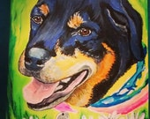 Rottweiler Dog Painting Pet Portrait 5 by 7 Custom Made By Tessimal Original Wall Art