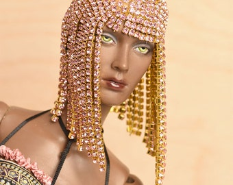 Delicious! Custom Made Pink Rhinestone Wig for Mid Generation Sybarites and Dolls of Similar Size by awsumgal