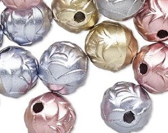 14mm Round Rose Acrylic Bead Mix, Mixed Colors, pack of 50