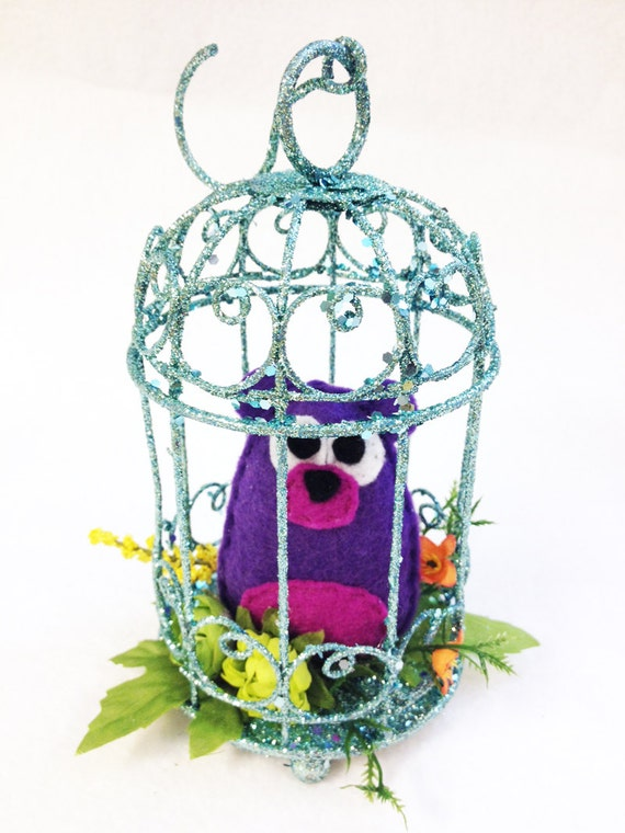 Bear Ornament, Felt Bear in Birdcage - Lily the Bear, Home Decoration, Purple and Teal, Home Decor, Ornament