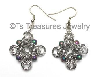 B2 Rainbow - Chainmaille and Rainbow Hematite bead earrings