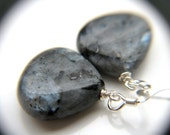 Larvikite Earrings . Gray Stone Earrings . Black and Grey Earrings . Simple Gray Dangle Earrings - Constellation Collection NEW