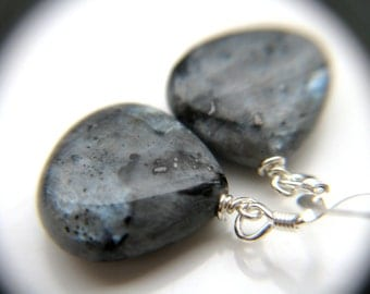 Larvikite Earrings . Gray Stone Earrings . Black and Grey Earrings . Simple Gray Dangle Earrings - Constellation Collection
