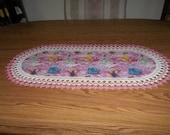 Crocheted Table Runner or Dresser Scarf Disney Princesses Cinderella - Belle - Rapunzel - Tiana