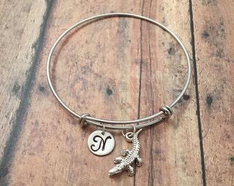 Alligator initial bangle - alligator jewelry, Florida bracelet, crocodile jewelry, Florida jewelry, silver alligator bangle, gator bracelet