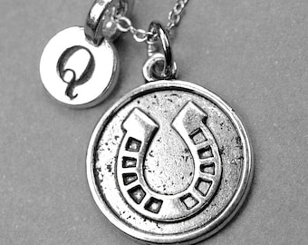 Horseshoe necklace, horseshoe coin, lucky horseshoe charm, lucky charm necklace, initial necklace, initial charm, personalized, monogram
