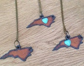 For Lois - Aged Metal NC Pendant Necklace with Turquoise Heart