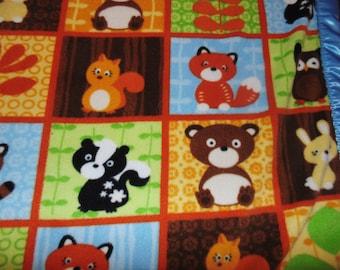 Cute Forest Animal babies fleece raccoon fox skunk squirrel owl animals Toddler Throw blanket crib kids