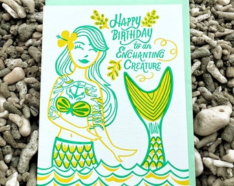 Enchanting Mermaid Letterpress Birthday Card