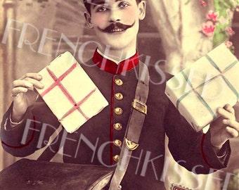 Instant Download French Mailman Delivering Gifts Antique 1907 Victorian Postcard Digital Download
