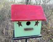 Birdhouse Primitive Kiwi Green Red Rusty Stars  garden Birdhouse  Cottage Bird house  Wooden birdhouse