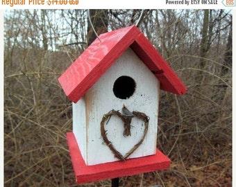 SUMMER SALE Chickadee Wren Songbird White and Red Primitive Birdhouse Heart Grapevine Wreath
