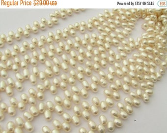FLASH SALE Creamy White Freshwater Fringe Oval Pearls Grade AA 8mm - 9mm - Full Strand - Perfect for wedding or bridal jewelry