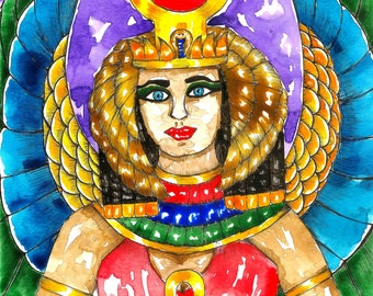 Goddess Art Egyptian Mother Goddess Isis Altar Art Fantasy Art Print Pagan Art Goddess Mythology Art Mythological Art Divine Feminine