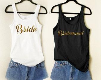 7 Bridesmaid Tank 1 Bride Tank Bachelorette Party Wedding Team Bride Bridal Shower Tanks Bridal Gift Maid of Honor Getting Married Tank