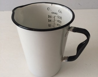 White Enamel Measuring Cup Industrial Medical Scientific Ounces to CC Chippy Farmhouse Decor