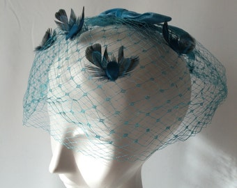 1950's Aqua Blue Birdcage Veil Mesh Hat with Velvet Ribbon and Feather Accents Retro Wedding Something Blue