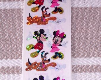 Vintage 1990's Disney Mickey Mouse Minnie Pluto Stickers Sandylion Prismatic  Unopened MIP