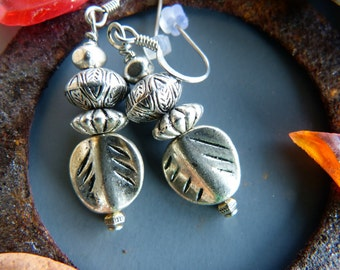 Silver Earrings with Mixed Pewter Beads