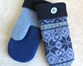 Repurposed Sweater Wool Mittens in Blue and Navy Snowflake Pattern, Adult Size