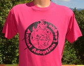 vintage 90s t-shirt ANIMAL ADOPTION league rescue love dog cat tee Medium Small