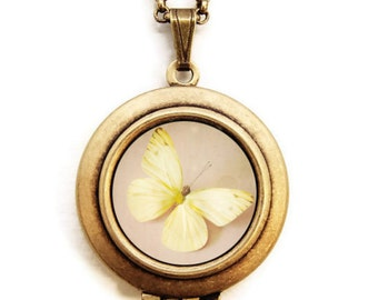I dream of sunshine - Photo Locket Necklace - butterfly locket, photo jewelry, round locket, yellow butterfly