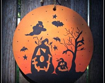 Halloween Large Round Ornament-Pumpkin-Tree-Ghost-Home Decor Decoration