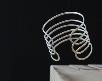 Royal. Sterling Silver Six Row Wide Elegant Cuff Bracelet