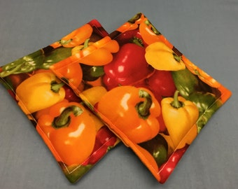 Bell Peppers Fabric Potholders  Set of 2