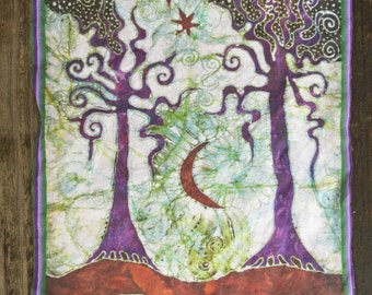 Two Trees Batik Fabric Print Patch