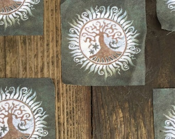 Batik Tree of Life Fabric Print Patches - Set of Five