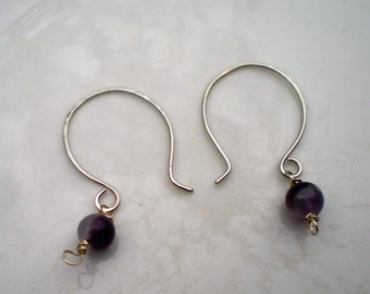 Argentium Silver and Amethyst Bead Two Way Earrings