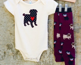 Boy or Girl Baby Bodysuit and Leg Warmer Set - PUG LOVE - Fun Birthday or Baby Shower Gift - Perfect for Dog Lovers