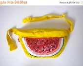 FLASH SALE / 20% off Vintage 80s 90s Bright Yellow Fannypack with Watermelon Sequined Applique