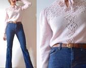 Vintage 60s 70s Light Pink Knit Sweater (size medium, large)