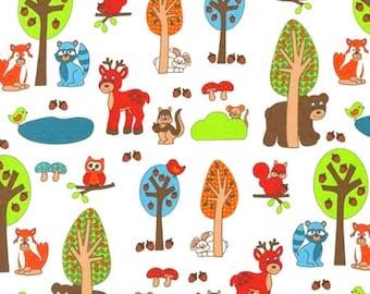 1 YARD - Woodland Critters, White Forest, Animals, Fox, Reindeeer, Owl, Children's Cotton Fabric  - SALE 50% off