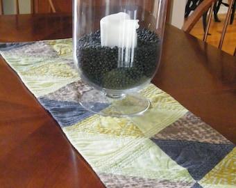 Table Runner-Earth Tones, Triangles, Original, Fiber Art