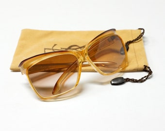 80s Oversized honey brown vintage sunglasses by YSL model 7955 in NOS condition