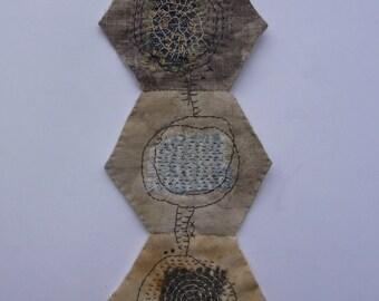 Textile Art Piece - Brown Hexies